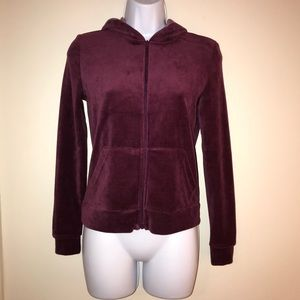 Rue21 Wine-Colored Jacket with Hood and Pockets
